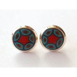 Cabochon Ohrstecker rot-türkis-gold